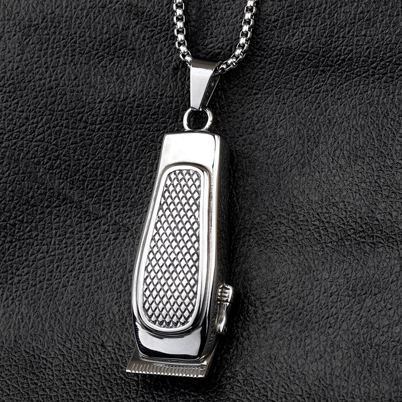 Stylish Barber Clipper Pendant Silver Color Stainless Steel Necklace Men Jewelry